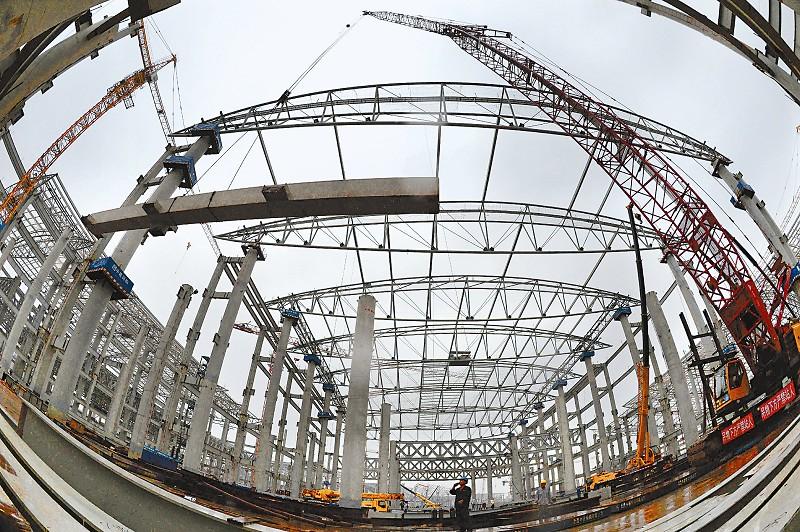 西部国际博览城项目  十万平方米钢筋桁架楼承板